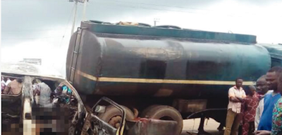 Image result for 11 burnt to death as passenger bus collides with tanker