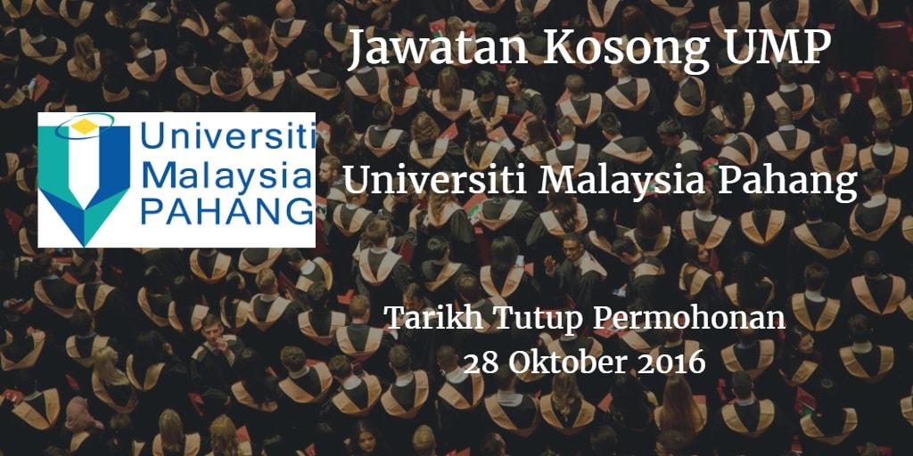 Jawatan Kosong UMP 28 Oktober 2016