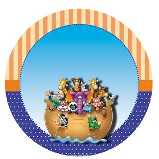 Fiesta de Arca de Noé:  Wrappers y Toppers para Cucpakes para Imprimir Gratis.