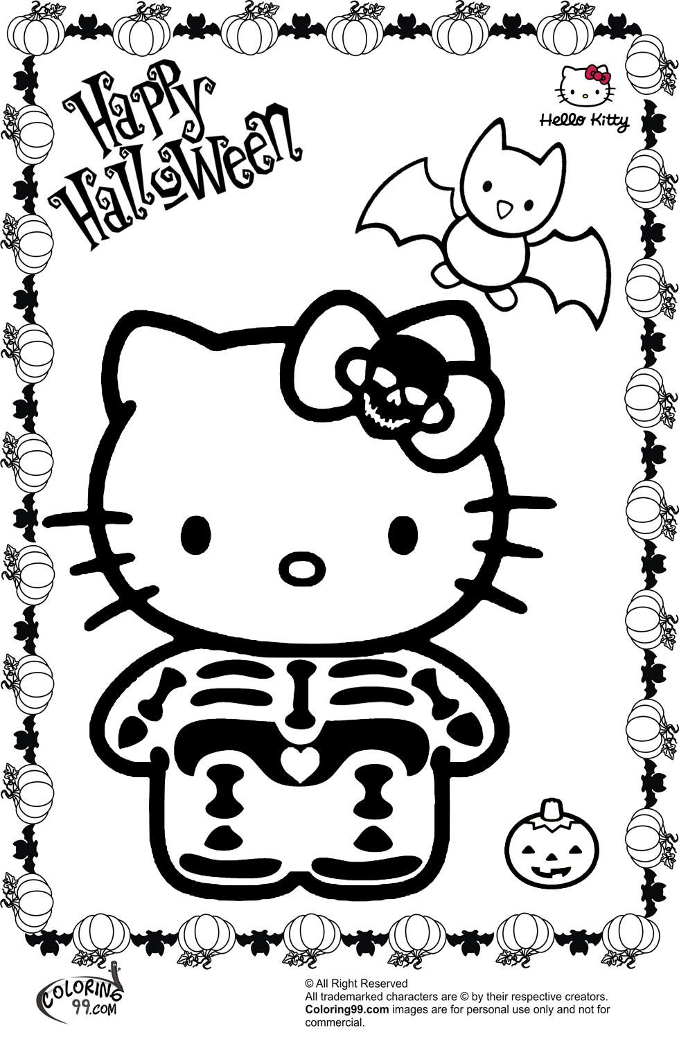 a coloring pages of hello kitty | Hello Kitty Halloween Coloring Pages | Minister Coloring
