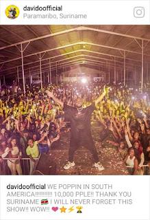 Davido performs in Suriname, South America