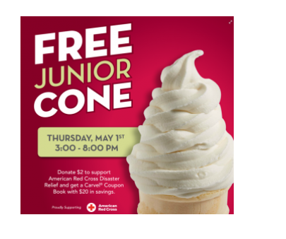 Carvel Free Cone Day May 1