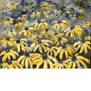 Purple shades of yellow daisies- Original Painting