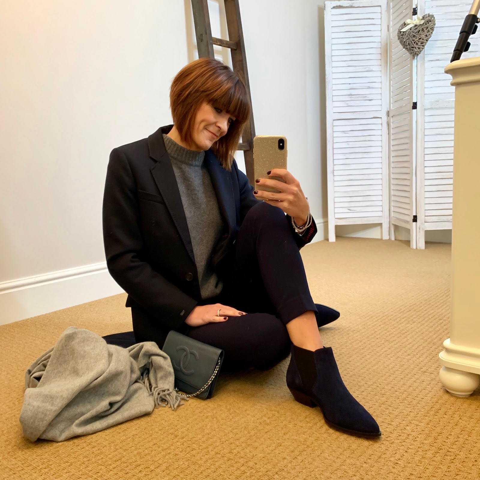 my midlife fashion, tommy hilfiger coat, chanel wallet on chain, zara oversized cashmere jumper, j crew cameron twill pants, marks and spencer western heel ankle boots, acne studios fringe canada scarf