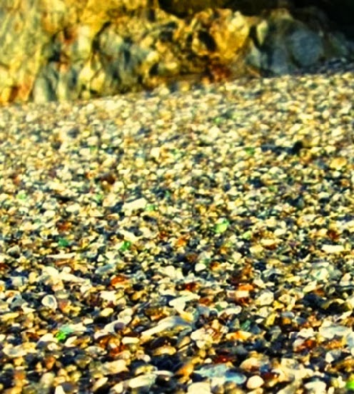 Waste glass used in glass beach in North California