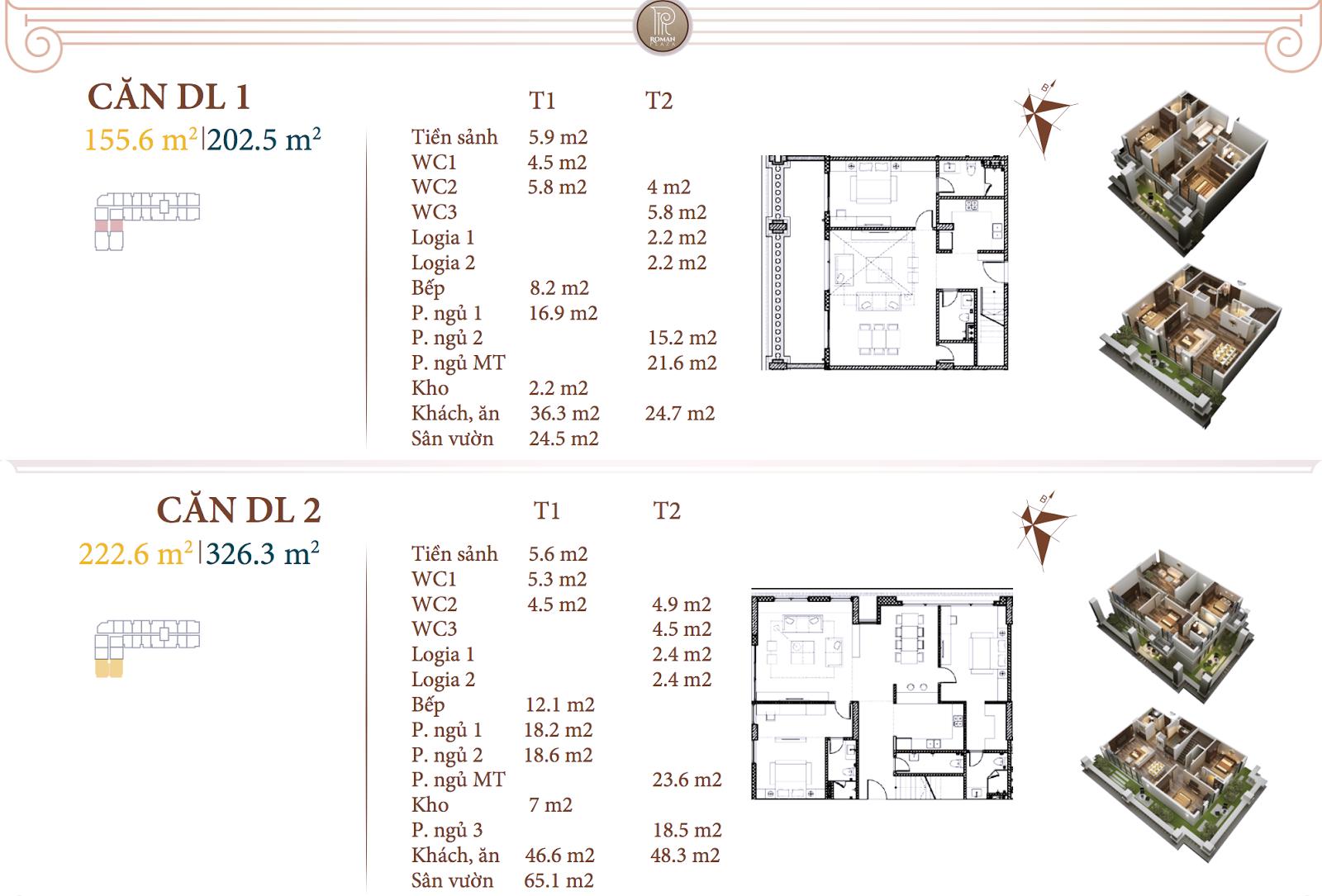 Chi tiết căn hộ DL1 - DL2 dự án Roman Hải Phát