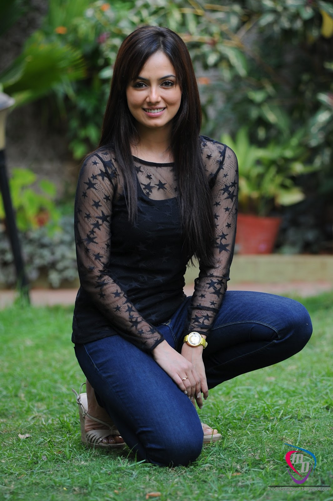 Sizzling Hot Sana Khan In A Black Transparent Top  Jeans -2158