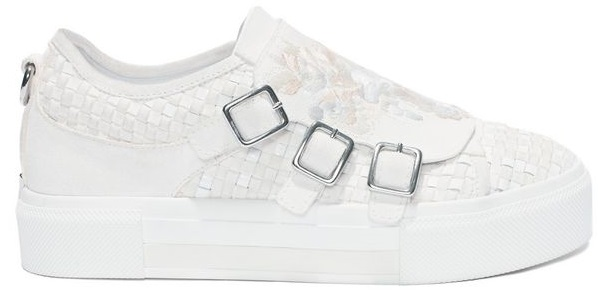 Silk white embroidered 3 Buckle sneaker