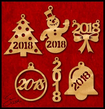 Here are six simple 2018 Christmas Ornaments. Just for fun, you might  consider cutting these out of alternative materials such as acrylic or even  cardstock ... - Scrollsaw Workshop: 2018 Christmas Ornaments Free Scroll Saw Patterns.
