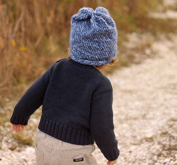 Toddler Slouch Beanie Knitting Pattern - Gina Michele