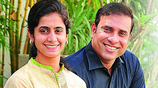 VVS Laxman And His Wife Jpeg