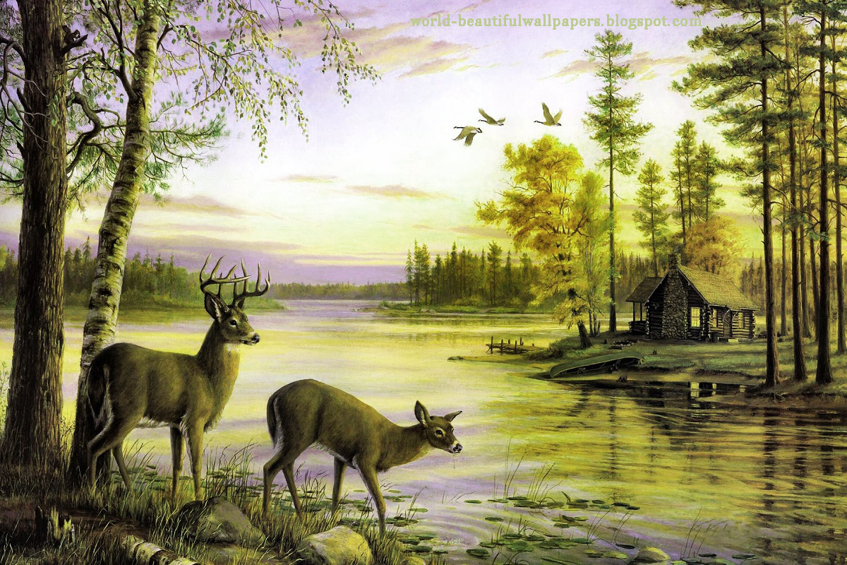 Nice Home Offices Nature Painting Wallpaper Nature Wallpaper