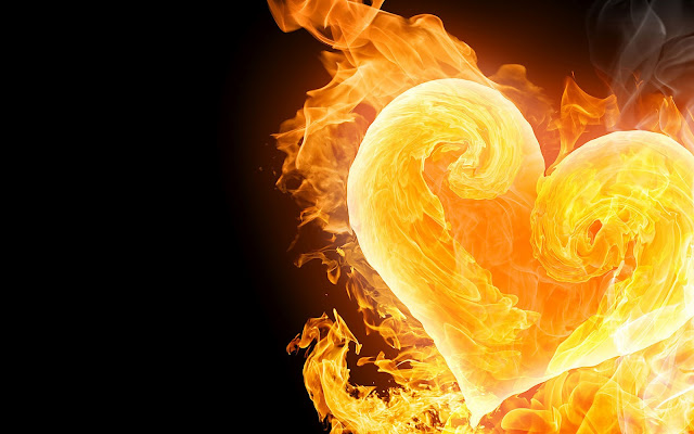 Vuur in de vorm van een liefdes hartje