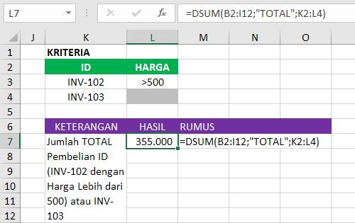 Rumus Database Excel Dengan Logika Gabungan AND-OR