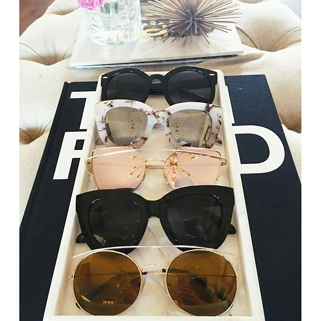 quay marble sunglasses, karen walker look a like sunglasses, BP nordstrom sunglasses, love always rose gold sunglasses, marble tray, tom ford book, rose gold mirrored sunglasses, gentle monster love punch