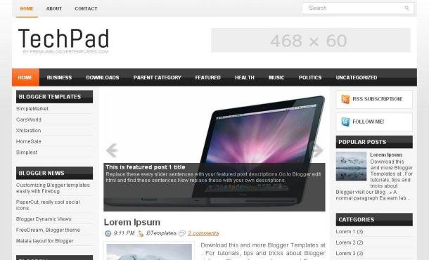 Chrome Technology Jquery Blogger Template