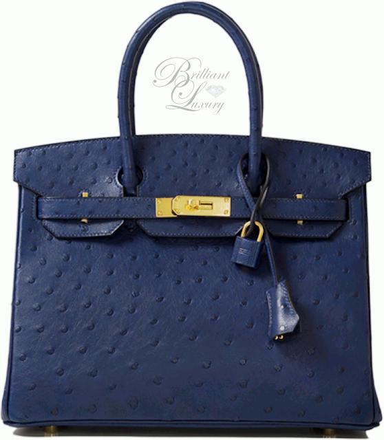 Brilliant Luxury ♦ Hermès Blue Iris Ostrich Birkin Bag