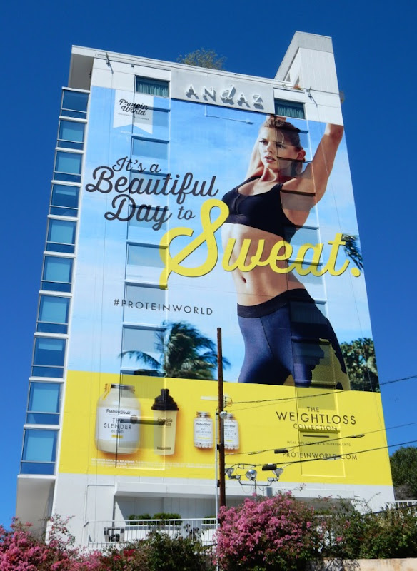 Giant Its a beautiful day to sweat Protein World billboard