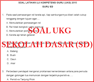 Latihan Soal-soal UKG untuk Guru Sekolah Dasar (SD) Tahun 2015