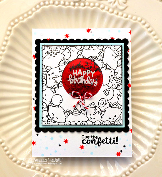Kitty Birthday Card by Larissa Heskett | Newton's Block Party Stamp Set and Frames Squared Die Set by Newton's Nook Designs #newtonsnook #handmade