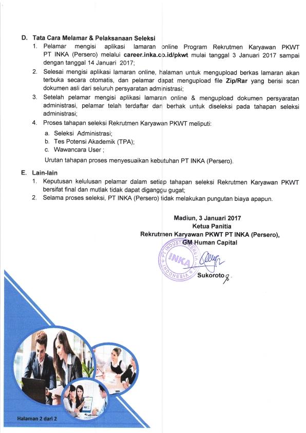 Rekrutmen PKWT PT Industri Kereta Api (Persero) Tahun 2017