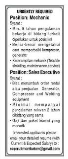 Lowongan Kerja Mechanic dan Sales Executive