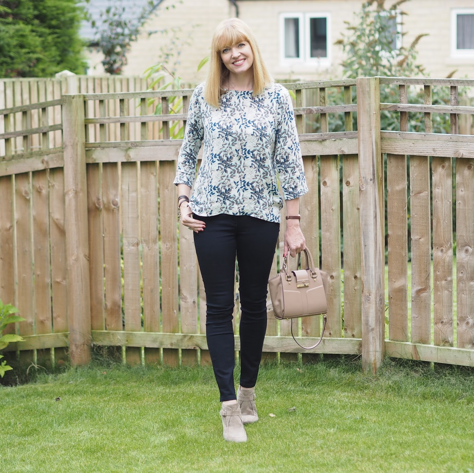 The Tulchan leaf blouse and skinny jeans