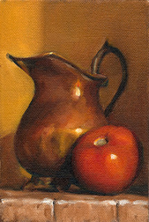 Oil painting of a copper jug beside a red tomato.