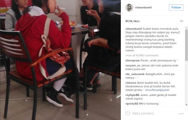 Unggah Foto Siswi SMP Merokok, Instagram Wali Kota Bandung Ridwan Kamil Banjir Komentar