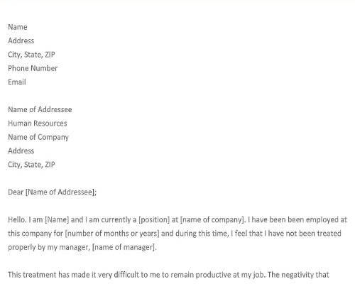 Complaint Letter Again Manager Template