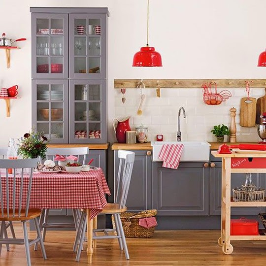 grey and red modern country kitchen