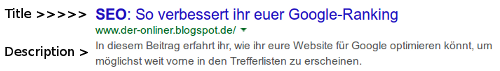 Title und Description in den Google-Trefferlisten