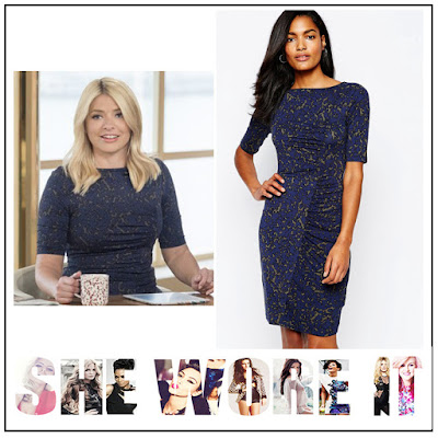 Abstract Print, Animal Print, Bodycon, Dress, Gathered, Half Sleeve, Holly Willoughby, Jersey, Khaki, Navy Blue, Ruched, Seam Detail, This Morning, Whistles,
