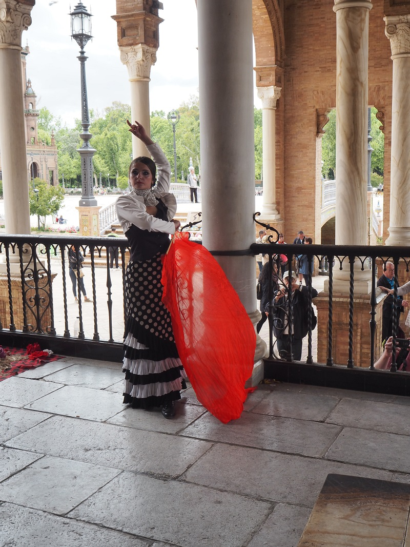 Flamenco dancer at Plaza de Espana, Seville