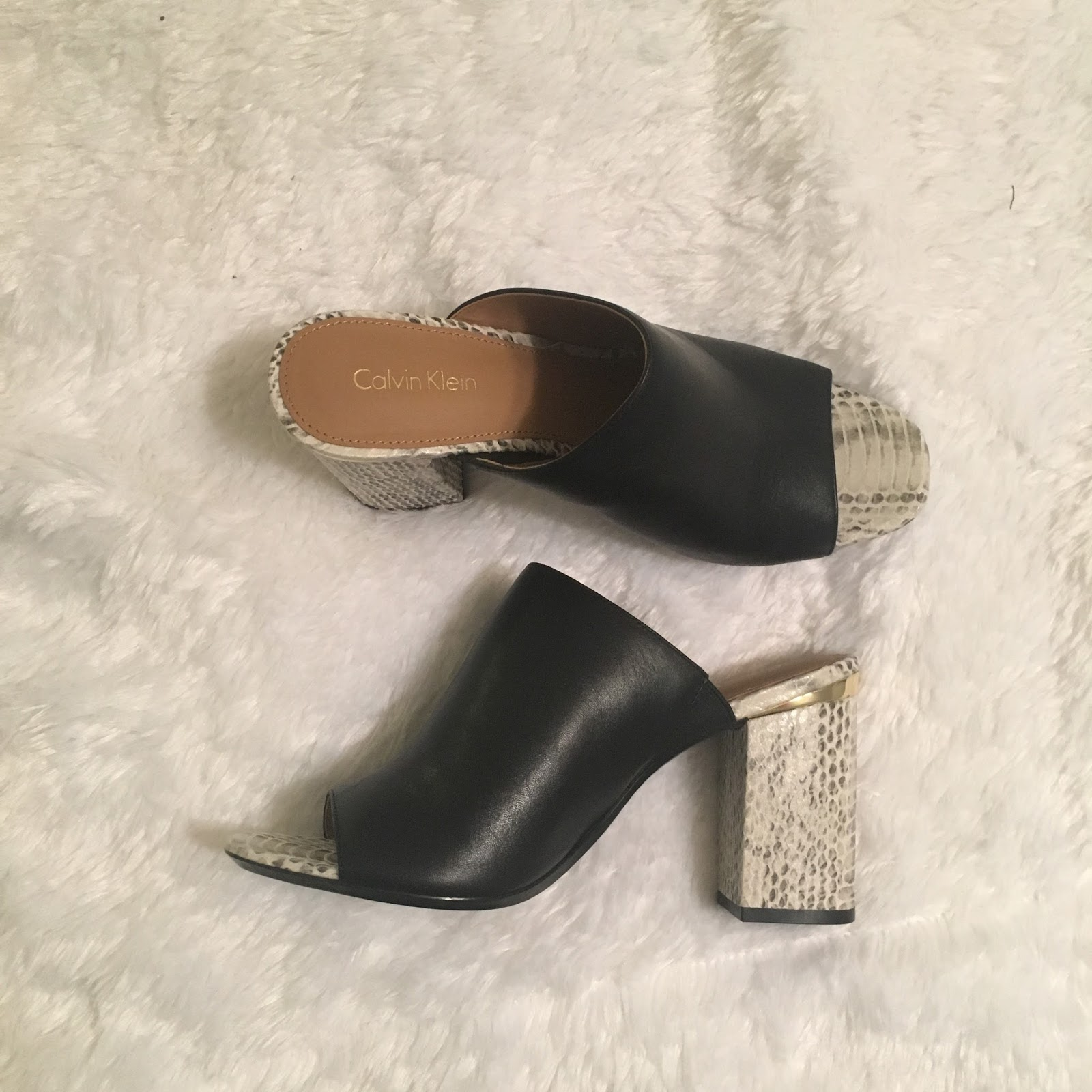 Black and Snakeskin mule shoes