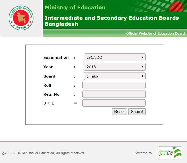 JSC Exam Result 2018 Online