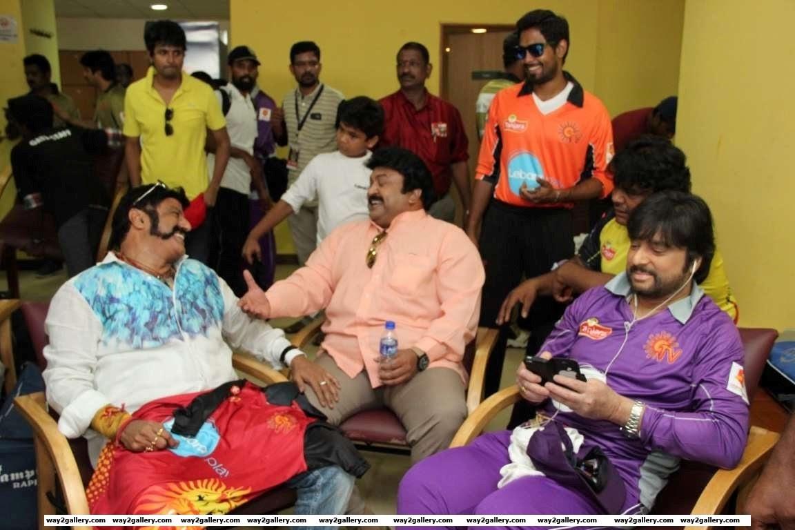 Nandamuri Balakrishna and Prabhu share a light moment during the Natchathira cricket tournament