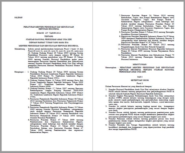 Permendikbud Nomor 137 Tahun 2014 Tentang Standar Nasional Pendidikan Anak Usia Dini