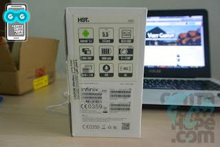 Infinix Hot 3 - Kotak kemasan, tampak belakang. Abaikan ikon 3G itu.