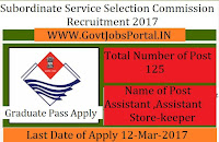 Subordinate Service Selection Commission Recruitment 2017 –Assistant Officer Post