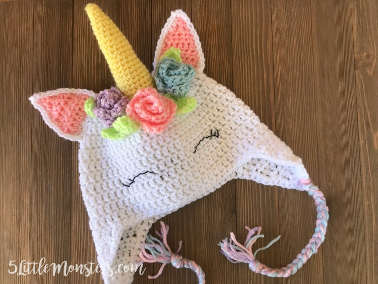 28dfd0eec9a 5 Little Monsters  Crocheted Unicorn Hat with Flowers