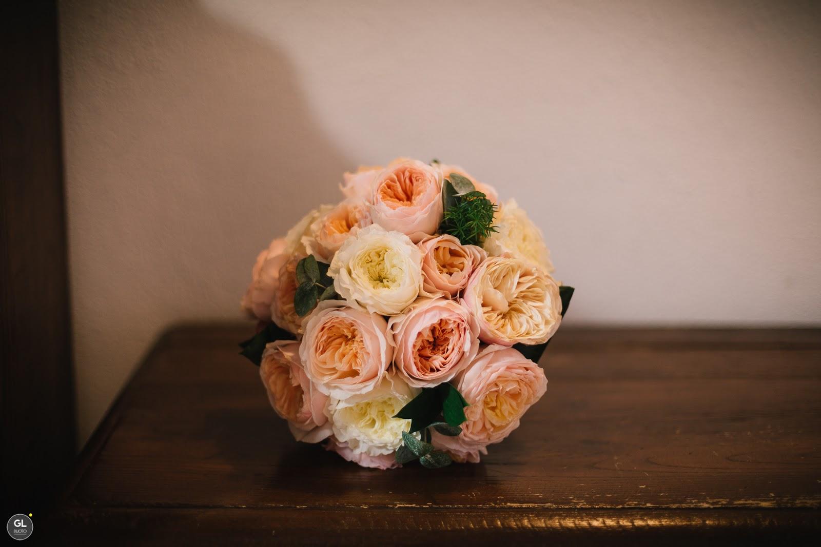 Bouquet sposa rose garden bianco e rosa