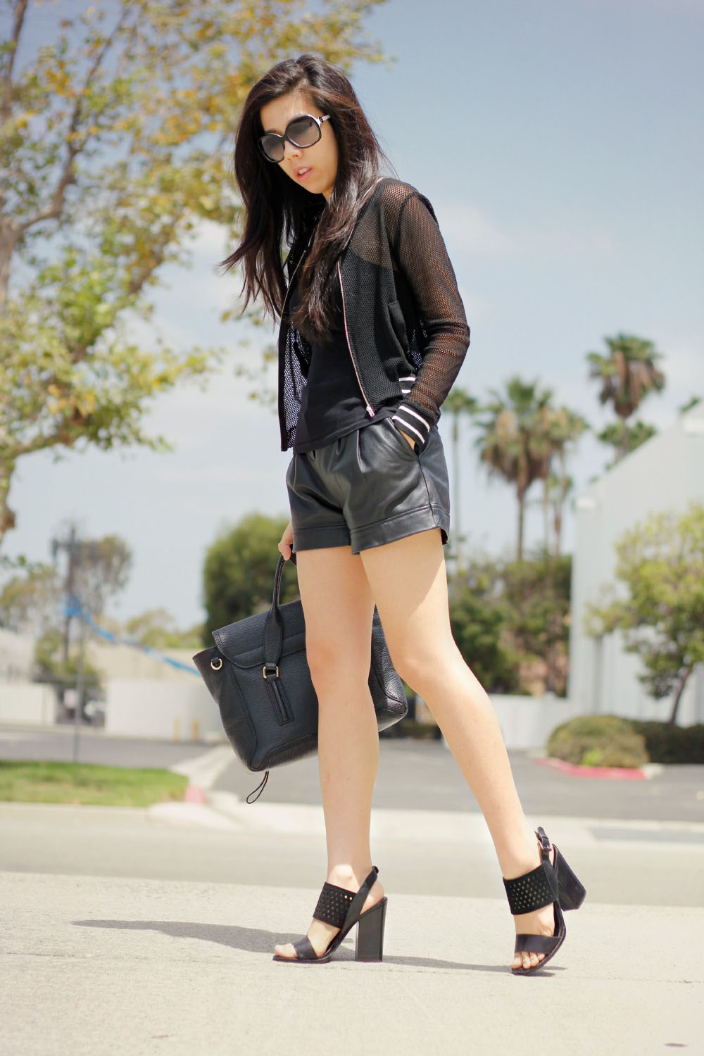 Black Leather Shorts and a bomber