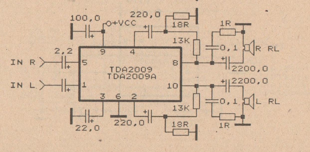 2 X 20 W car amplifier circuit with TDA2009 Electronic Circuit