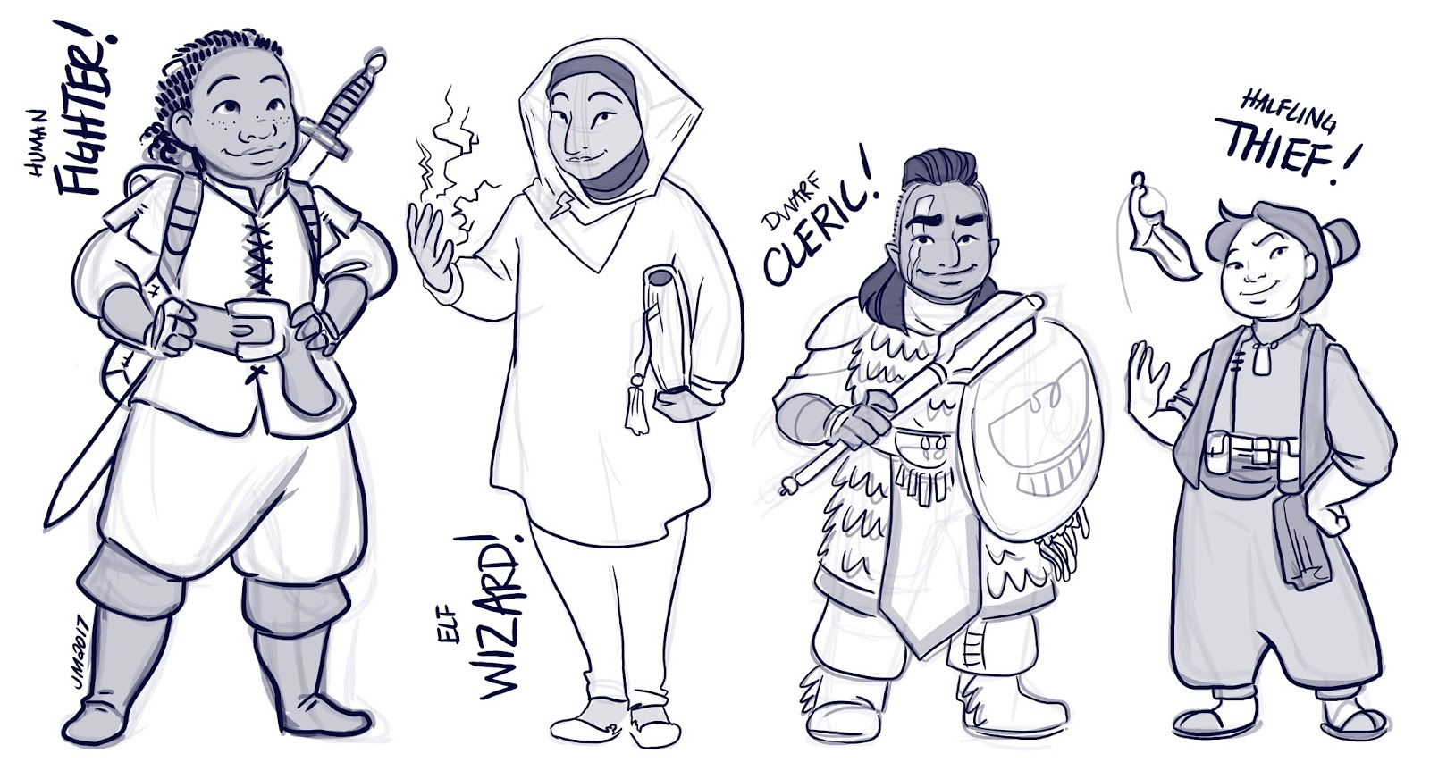 Four female characters, human fighter, elf wizard, dwarf cleric and halfling thief.