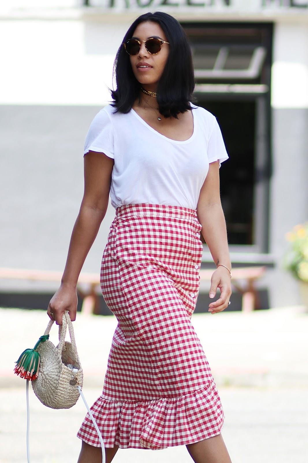 SheInside Gingham Skirt