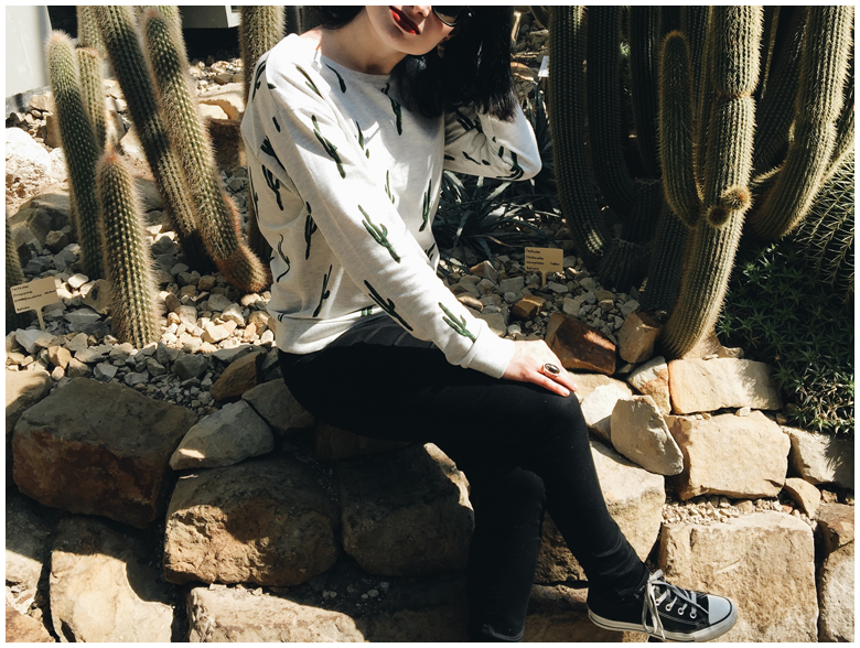 spring outfit | h&m cacti sweater, h&m black treggings, black converse | more details on my blog http://junegold.blogspot.de | life & style diary from hamburg | #fashion #outfit #spring #springoutfit #cacti #hm #converse #black