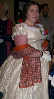 1860s style yellow taffeta ballgown.