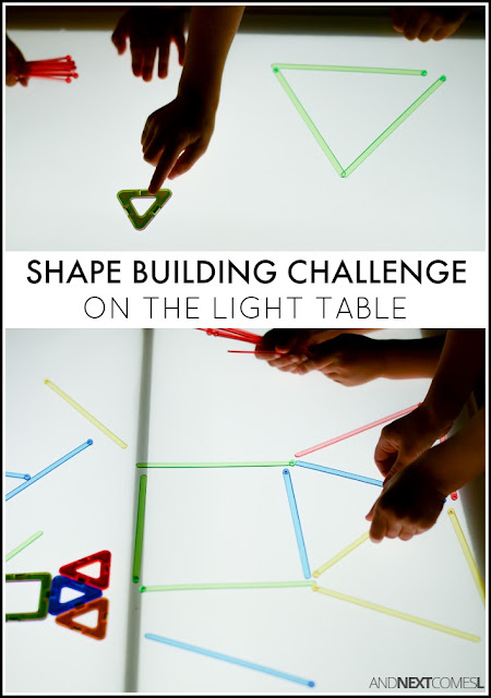 Building simple and complex shapes light table activity for kids from And Next Comes L
