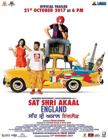 Poster Of Pollywood Movie Sat Shri Akaal England 2017 300MB HDRip 480P Full Punjabi Movie
